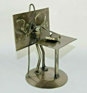NOVICA Rustic Professor Collectible Recycled Car Parts Metal Sculpture Steampunk $30.99