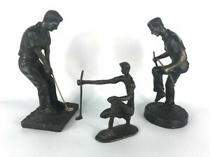 Vintage Lot of 3 Golfers Heavy Metal Sculptures Figurine Different Poses $140.79
