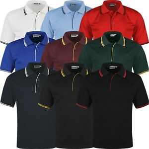 New Mens Polo Shirts Tipped Breathable Short Sleeve Sports Anti Bacterial Top GBP 7.99