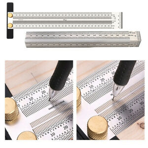 2x Stainless T Type Hole Ruler Precision Scribing Ruler Carpenter Marke T Ruler $37.69
