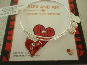 Alex and Ani I LOVE YOU COLOR INFUSION Bangle Shiny Silver New W Tag Card amp; Box $14.95