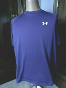 Purple Under Armour Heat Gear Loose Mens Exercise Shirt XL Polyester $20.99