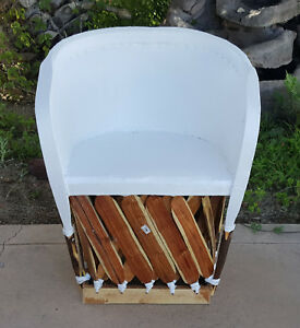 Painted Standard Equipale Rustic Mexican Leather Back Chair - White 022W