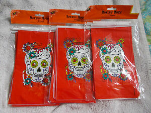 18 Skull Halloween Treat Bags  Bright Red Floral