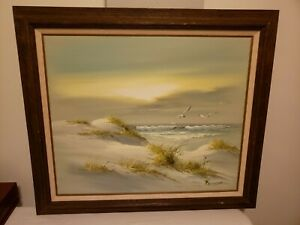 Seascape Original Painting Oil on Canvas by Carson Winter Lighthouse Sea Grass $35.00