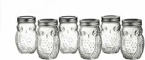 Style Setter Owl Cookies Sugar Jar Kitchen Storage Glass Canister, SET OF 6