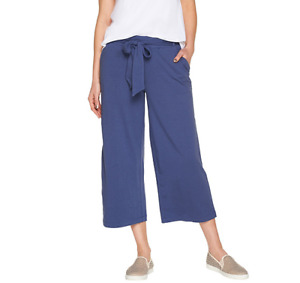 AnyBody Cozy Knit Wide Leg Cropped Pants Indigo Color Size L