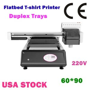 60*90 Digital Flatbed Duplex Trays T-shirt Printer White Ink Color Ink Printer