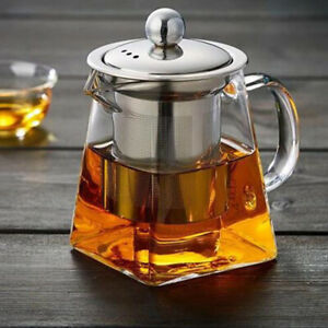1x Clear Loose Leaf Tea Heat-resistant Glass Teapot With Infuser Stainless Steel