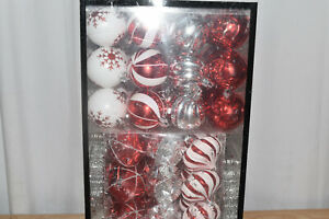 Holiday Time Shatterproof Christmas Tree Ornaments,101 Cnt, White, Red, and Silv