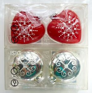 FOUR IKEA ISSIG HOLIDAY CHRISTMAS TREE ORNAMENTS NEW IN ORIGINAL BOXES