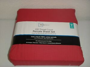 MAINSTAYS 200 Thread Count 3-PC TWIN Percale T SHEET SET Garnet Rose 100% COTTON