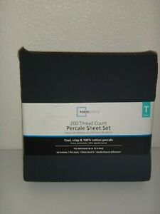 MAINSTAYS 200 Thread Count 3-PC TWIN Percale T SHEET SET Grey Stone 100% COTTON