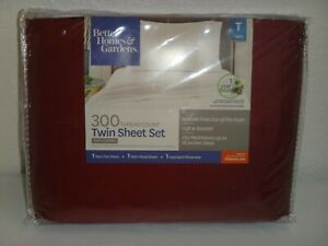 Better Homes &Gardens 300 Thread Count 3pc TWIN T SHEET SET Rose Wine 100%COTTON