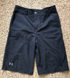 Boys Under Armour Heatgear Black Golf Shorts Youth Size 18 EUC $17.99