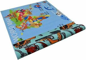 Double Sided Kids 7x10 Reversible Play Mat World map Rugs for Boys Girls Kids...