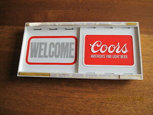 2 Each Coors Beer Welcome Thank You Closed Closed Plastic Sliding Window Sign