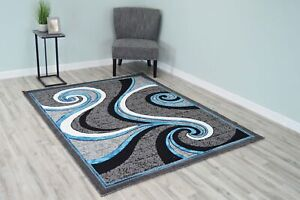 Star Polyester Modern Wave Contemporary Abstract Area Rug Design 1308 $49.00