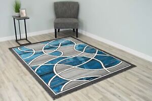 Luna Polyester Modern Waves Lines Contemporary Abstract Area Rug Design 1321 $55.00