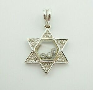 18K White Gold Star Of David See Through Glass Floating Diamond Pendant