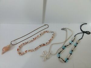 VINTAGE LOT OF 4 COWRIE SHELL NECKLACES