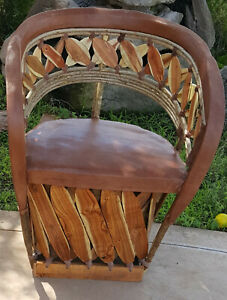 Mexican Equipale Leather Slat Back Chair Standard - Tobacco Finish 026T