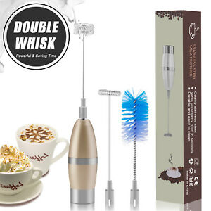 Electric Milk Frother Handheld Double Whisk Foam Maker Coffee Egg Beater Latte