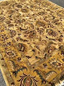 Handmade in India Oriental Rug Allover Floral Design Shades of Yellow 9x12