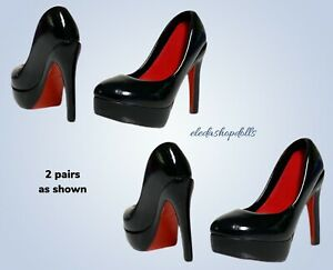 Eledoll Shoes Black Deluxe Pumps Stiletto Heels 2 Pairs Lot fits Monster High $19.00