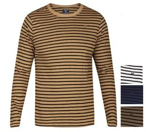 Hurley Mens Smith Crew Long Sleeve Knit Tee Shirt Multi Size Color $38 NWT $14.95