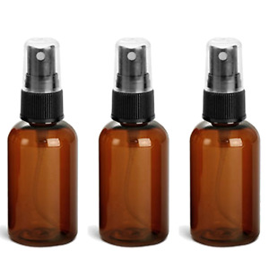 3 EMPTY Mist Spray Bottles Sanitizer Refillable Perfume Amber 2 Oz Boston Round