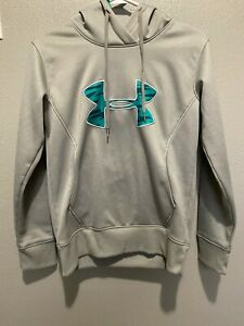 UNDER ARMOUR Womens Size S Hoodie Sweatshirt Gray With Turquoise Camo Logo $7.00