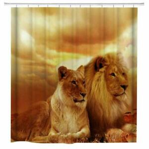 African Lion Fabric Shower Curtain Set Bathroom Decor with Hook Washable 71quot;x71quot;