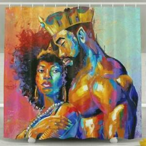 King African American Lovers Shower Curtain Set Bathroom Decor with Hook 71quot;x71quot;