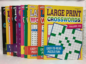 CROSSWORDS PUZZLE BOOK LARGE PRINT MADE IN USA NEW CROSSWORD FUN Assorted