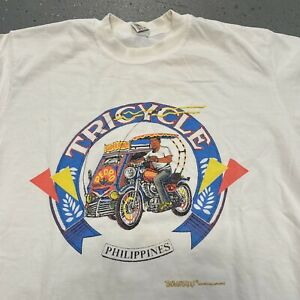 Vintage 80s 90s Philippines Tricycle tourist travel t shirt small E2