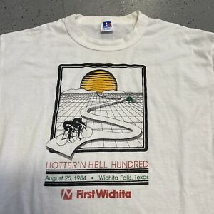 Vintage 80s 1984 First Wichita Falls Texas Bicycle Race Russell Large T Shirt E2