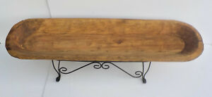 LONG MEXICAN HAND CARVED WOODEN TRENCH BOWL W METAL STAND
