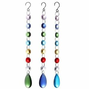 Diy Hanging Colorful Octagonal Beads Crystal Suncatcher Light String Pendant