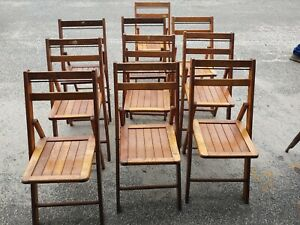 SET OF 10 ANTIQUE FOLDING CHAIRS OAKWOOD CHAIR MFG CO $299.99
