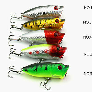 new 5 pcs 6.5cm Topwater Popper Minnow Freshwater Fishing Lures Tackle Hook
