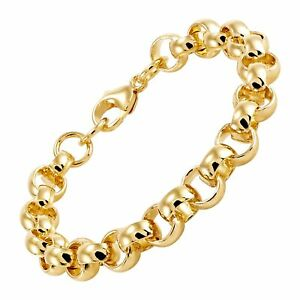 Italian Made Polished Rolo Link Chain Bracelet in 18K Gold Plated Bronze 7.75quot; $14.10