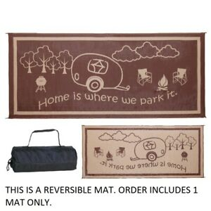 RV Camping Mat Reversible Outdoor Home Patio Deck Rug 8x18 Pad Large Brown Beige