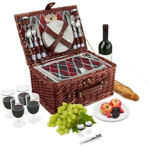 4 Person Wicker Picnic Basket Set | Cooler | Plates, Wine Glasses, Cutlery, S/P