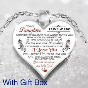 To My Daughter Love Mom Mother & Daughter Heart Rose Necklace 23 N102 1