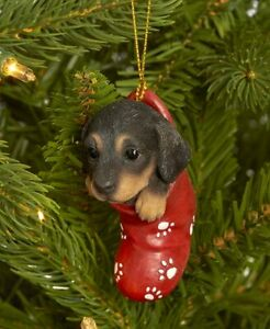 Dog & Cat Ornaments Christmas Tree Ornament Holiday Decor Dachshund in Stocking