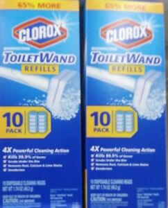 New 2x lot Clorox ToiletWand Disinfecting Refills Disposable wand 10ct 20 total