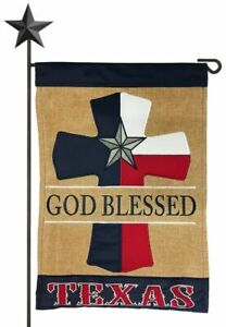 Burlap God Blessed Texas Cross Double Applique Garden Flag - FREE SHIPPING! NEW!