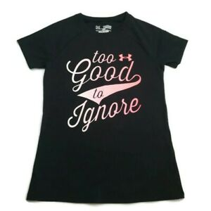 Under Armour Girl's Too Good To Ignore Shirt XS Loose Heat Gear Short Sleeves $12.00