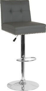 Flash Furniture Chrome And Metal Bar Stool In Gray Leather DS 8411 GRY GG